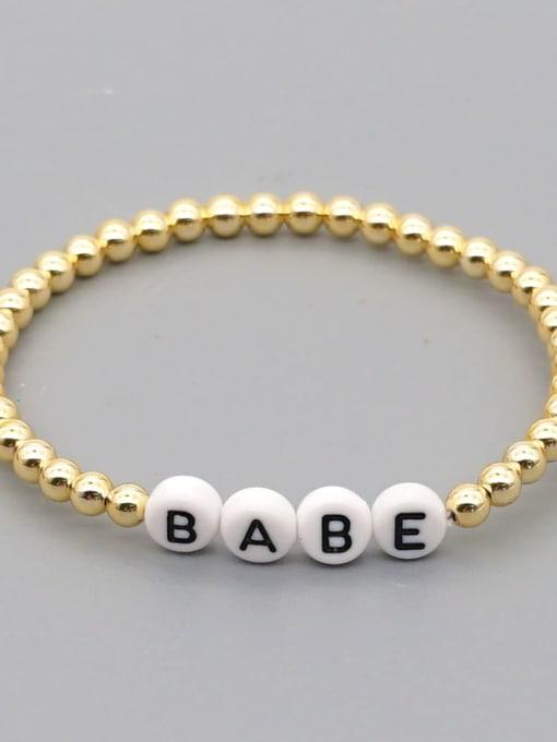 QT B200015M Stainless steel Bead Acrylic Letter Bohemia Beaded Bracelet