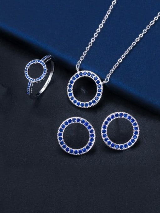 Size 9 blue three piece set Brass Cubic Zirconia Luxury Round  Earring and Necklace Set