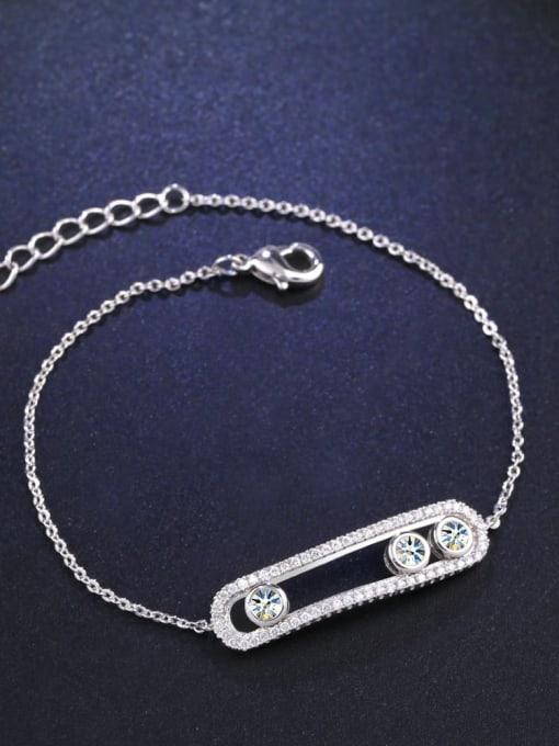 platinum Alloy Cubic Zirconia Geometric Vintage Link Bracelet