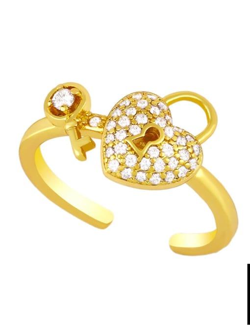 CC Brass Cubic Zirconia Key Minimalist Band Ring 3