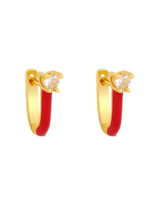 red Brass Multi Color Enamel Heart Vintage Huggie Earring