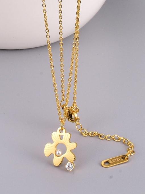 A TEEM Titanium Steel Hollow Flower Minimalist Necklace 3