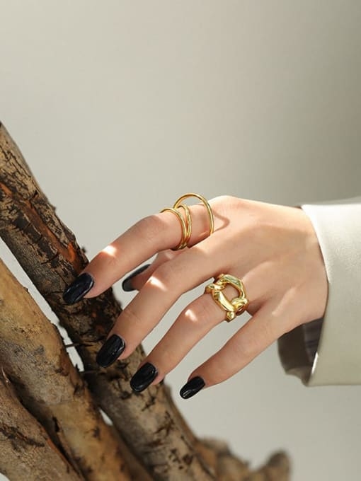 DAKA 925 Sterling Silver Irregular Vintage Stackable Ring 2