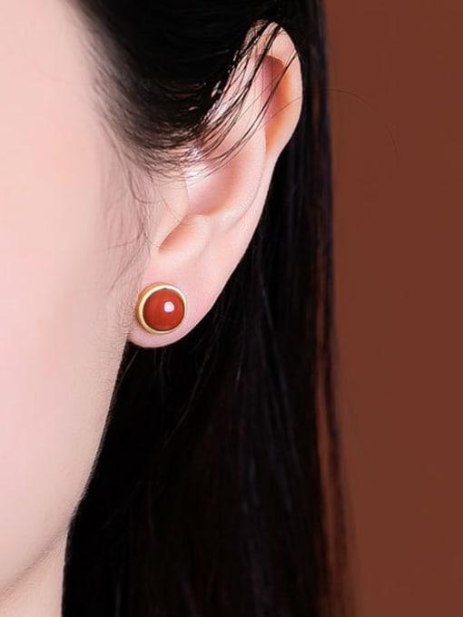 DEER 925 Sterling Silver Carnelian Round Vintage Stud Earring 1
