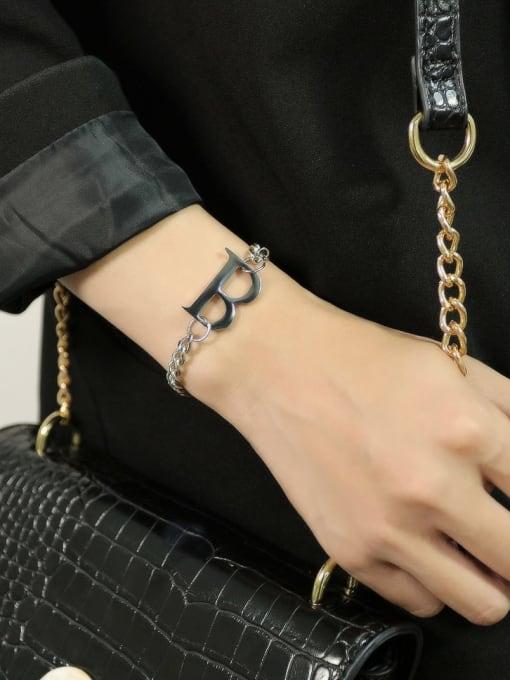 Open Sky Titanium Steel Letter Hip Hop Link Bracelet 1
