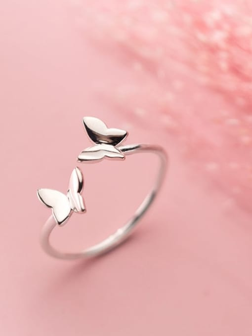 Rosh 925 Sterling Silver  Smooth  Butterfly Minimalist Band Ring 0