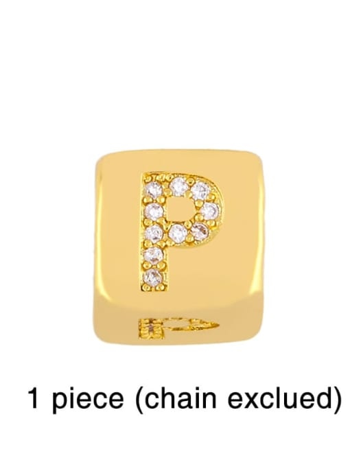 P Brass Cubic Zirconia square Letter Minimalist Adjustable Bracelet