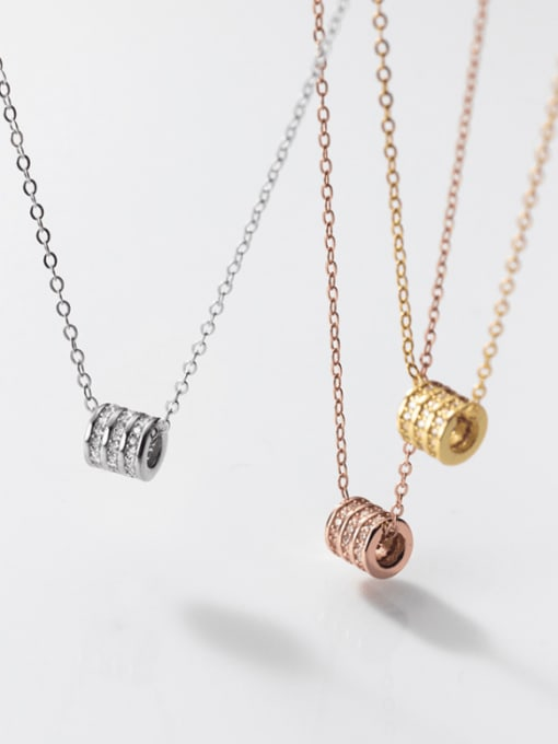 Rosh 925 Sterling Silver Cubic Zirconia Round Minimalist Necklace
