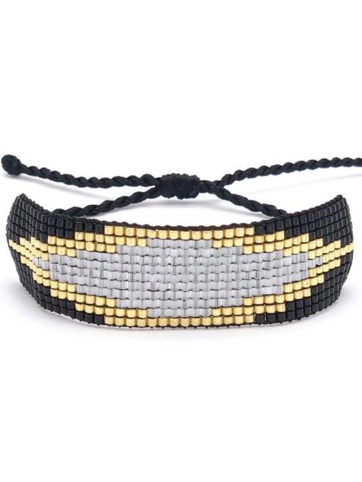 C B190004A Multi Color Geometric Miyuki DB Bead Bohemia Handmade Weave Bracelet