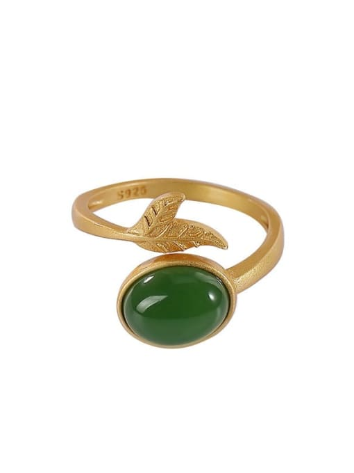 DEER 925 Sterling Silver Jade Leaf Vintage Band Ring 2