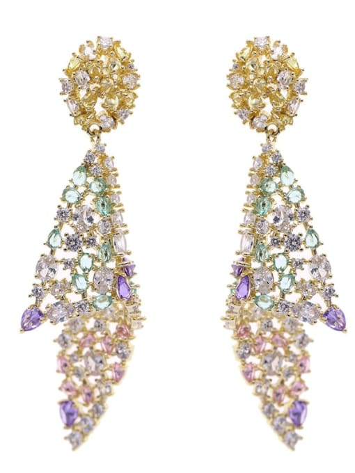 Luxu Brass Cubic Zirconia Geometric Luxury Drop Earring 3
