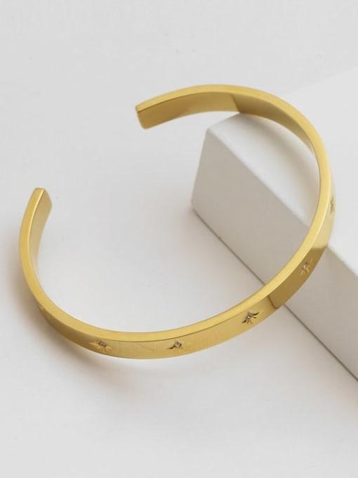 A TEEM Titanium Steel Rhinestone Geometric Minimalist Cuff Bangle 1