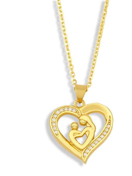 A Brass Cubic ZirconiaMinimalist  Letter Heart Pendant Necklace