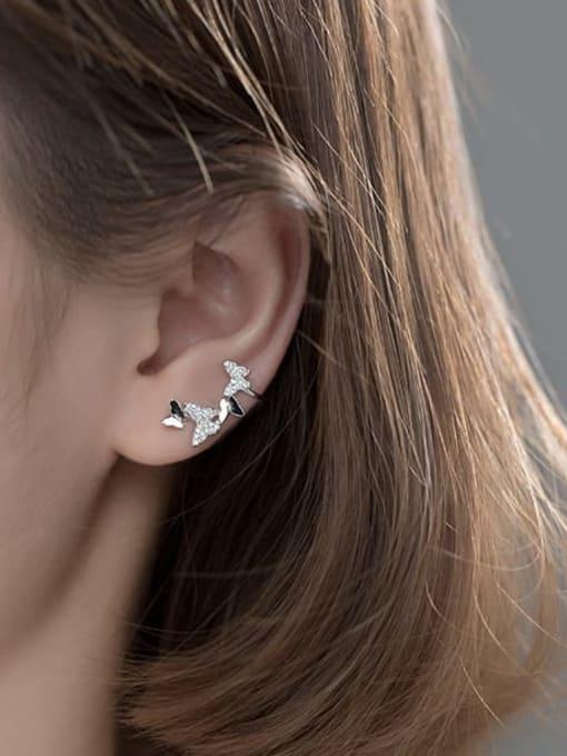 Rosh 925 Sterling Silver Cubic Zirconia Butterfly Dainty Clip Earring 3