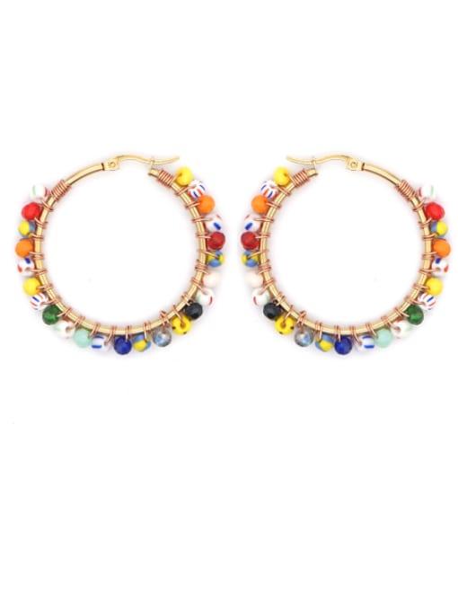 B E200026A Stainless steel Bead Multi Color Geometric Bohemia Huggie Earring