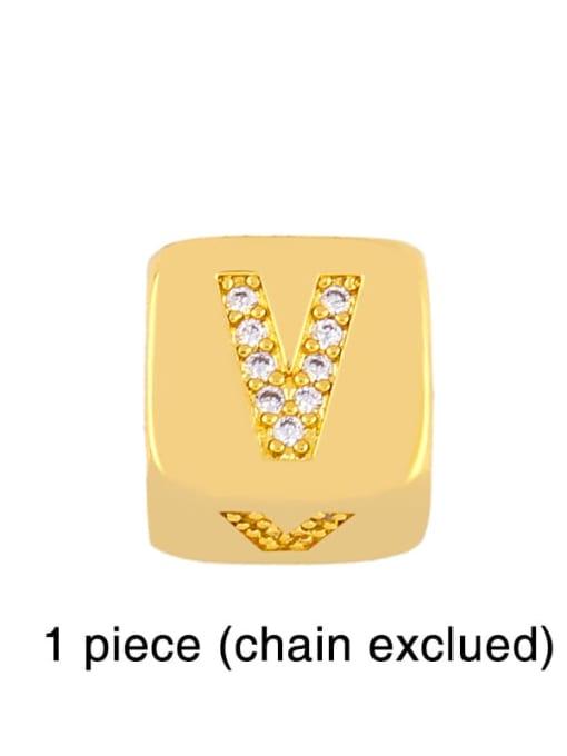 V Brass Cubic Zirconia square Letter Minimalist Adjustable Bracelet