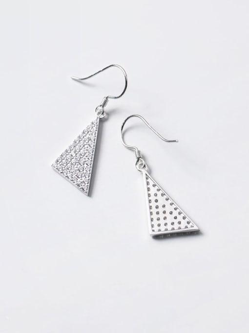 Rosh 925 Sterling Silver Cubic Zirconia Triangle Dainty Hook Earring 2