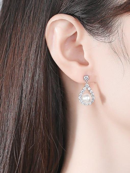 BLING SU Brass Cubic Zirconia Water Drop Luxury Drop Earring 1