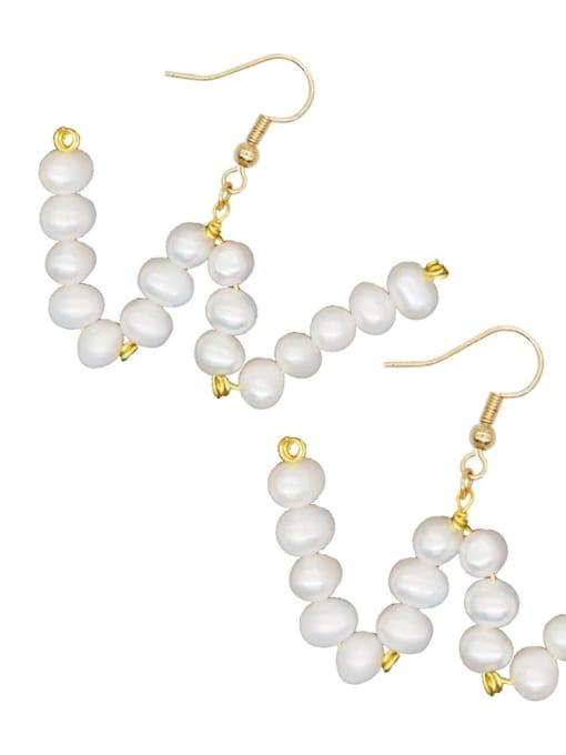ZZ E200079W Stainless steel Freshwater Pearl Letter Ethnic Drop Earring
