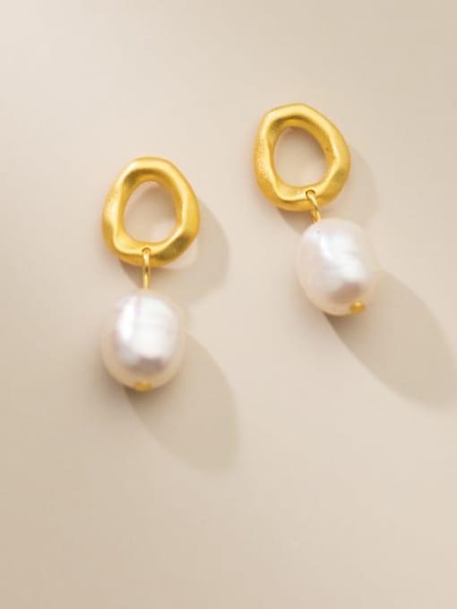 Rosh 925 Sterling Silver Imitation Pearl Geometric Minimalist Drop Earring