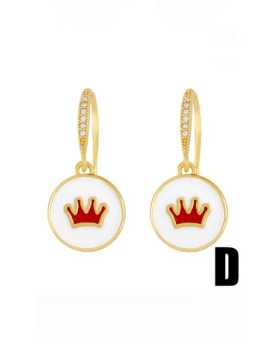D (white crown) Brass Enamel Crown Vintage Huggie Earring