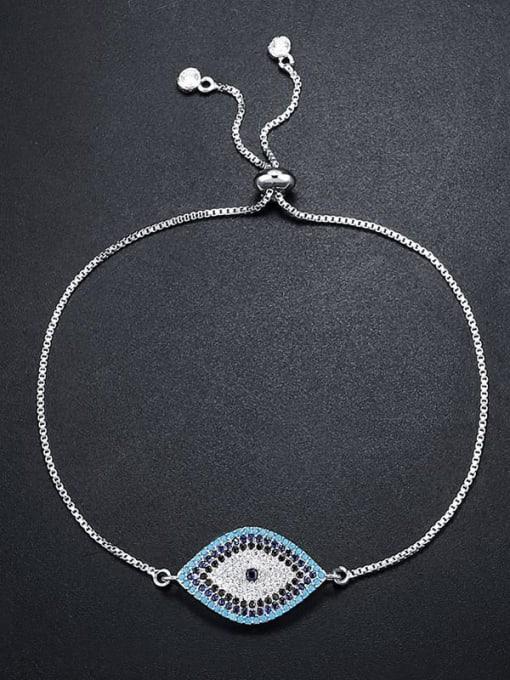 steel Brass Cubic Zirconia Evil Eye Bohemia Link Bracelet
