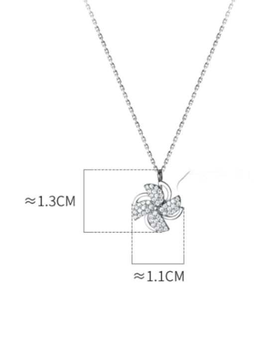 Rosh 925 Sterling Silver Cubic Zirconia Clover Minimalist Necklace 3