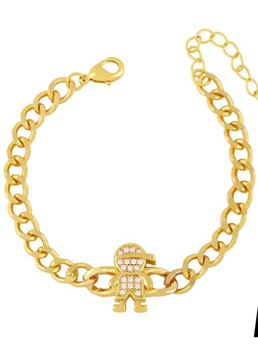 A Brass Cubic Zirconia Star Trend Hollow Chain Bracelet