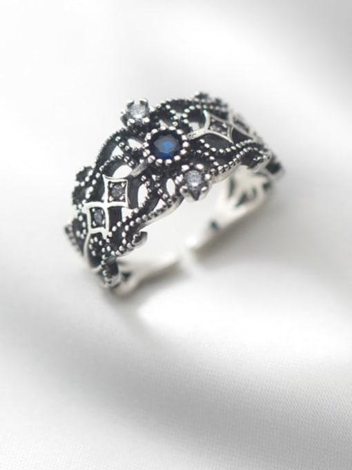 Rosh 925 Sterling Silver Rhinestone Hollow  Flower Vintage Band Ring