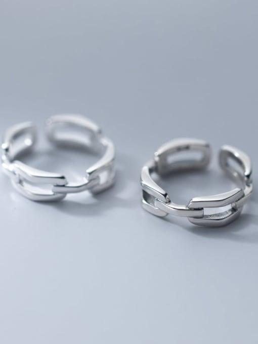 Rosh 925 Sterling Silver Hollow Geometric Minimalist Band Ring 3