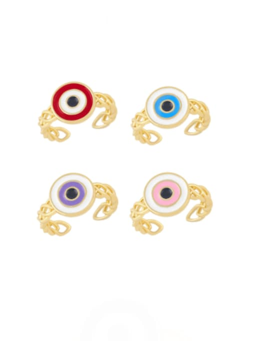 CC Brass Enamel Evil Eye Vintage Band Ring 0