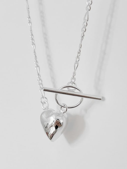 Boomer Cat 925 Sterling Silver Heart Minimalist Necklace