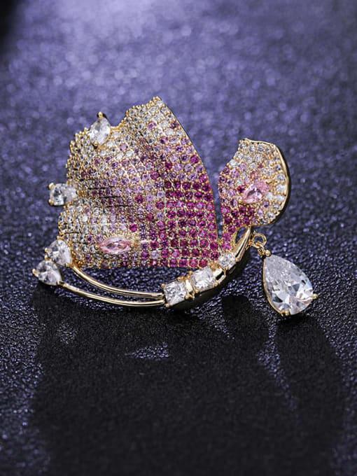 Luxu Brass Cubic Zirconia Butterfly Statement Brooch