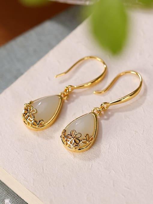 Gold Plated Hetian jade 925 Sterling Silver Jade Water Drop Vintage Hook Earring