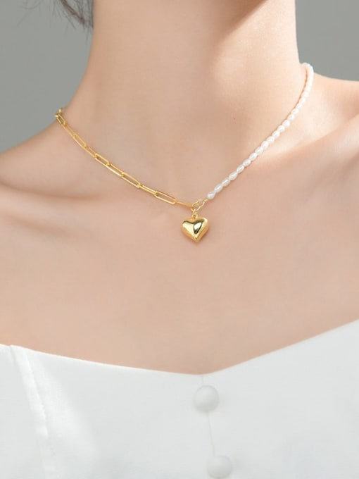 Rosh 925 Sterling Silver Imitation Pearl Heart Minimalist  Asymmetry Chain Necklace 4