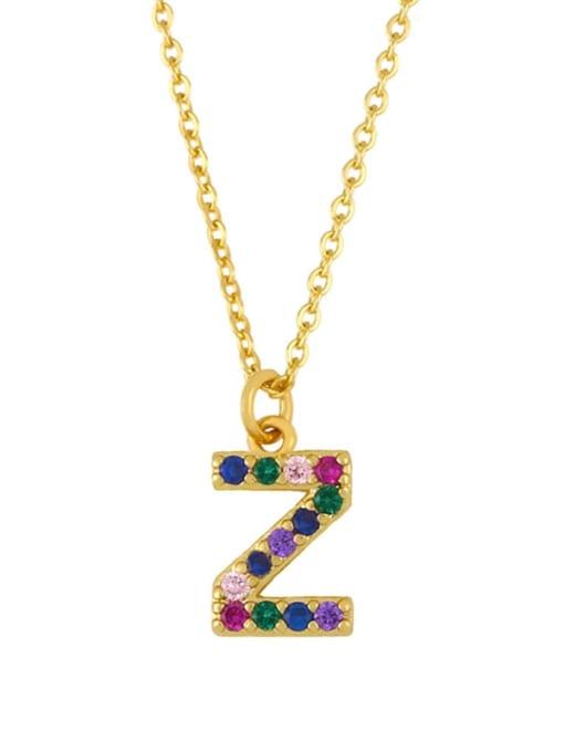 Z Brass Cubic Zirconia Letter Vintage Necklace