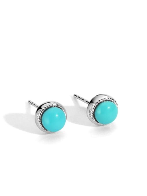 White Gold Turquoise Earrings Brass Turquoise Geometric Vintage Stud Earring