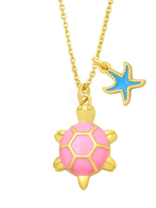 CC Brass Enamel Star Vintage tortoise Pendant Necklace 2