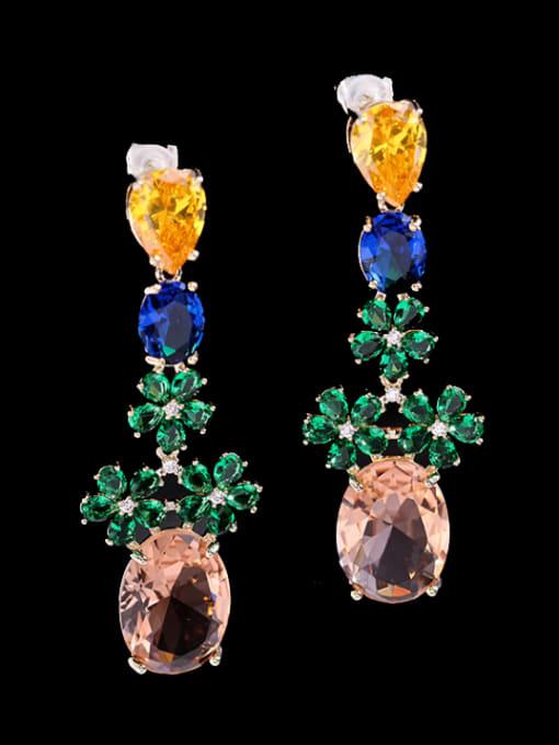 Green + blue zirconium Brass Cubic Zirconia Flower Ethnic Drop Earring