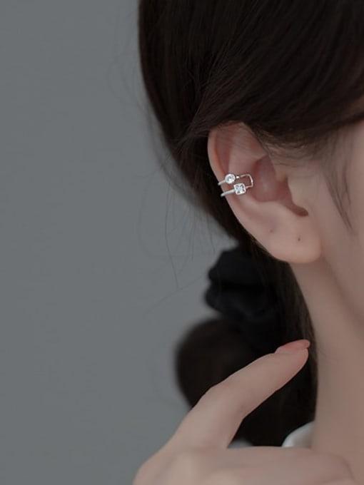 Rosh 925 Sterling Silver Rhinestone Geometric Minimalist Clip Earring 2