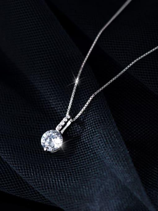 Rosh 925 Sterling Silver Rhinestone Round Minimalist Necklace 2