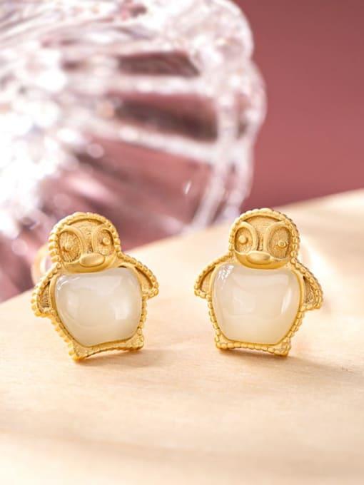 White jade (a pair) 925 Sterling Silver Jade Irregular  penguin Cute Stud Earring