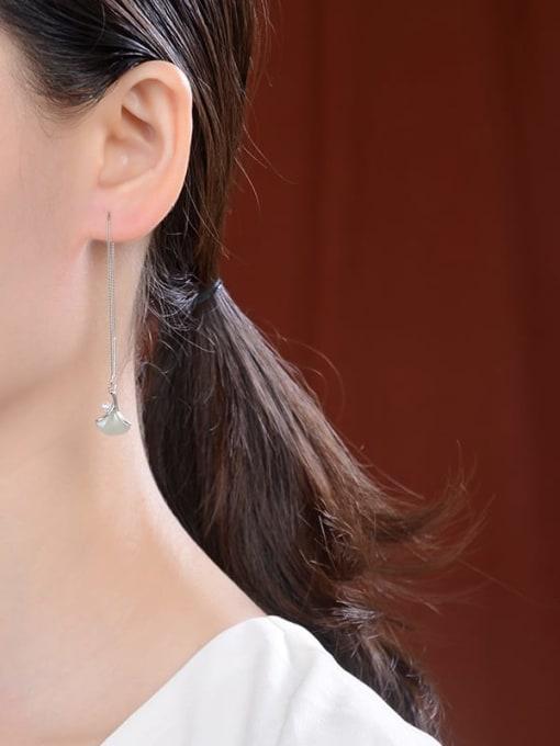 DEER 925 Sterling Silver Jade Geometric Minimalist Threader Earring 1
