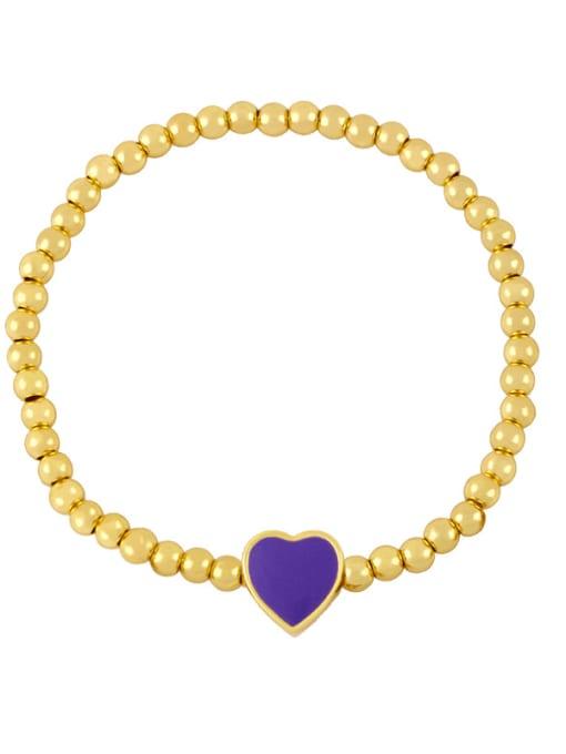 A (purple) Brass Enamel Heart Minimalist Beaded Bracelet