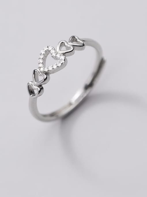 Rosh 925 Sterling Silver Rhinestone Hollow Heart Minimalist Band Ring 3