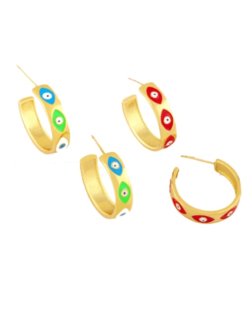 CC Brass Enamel Evil Eye Minimalist Stud Earring 0