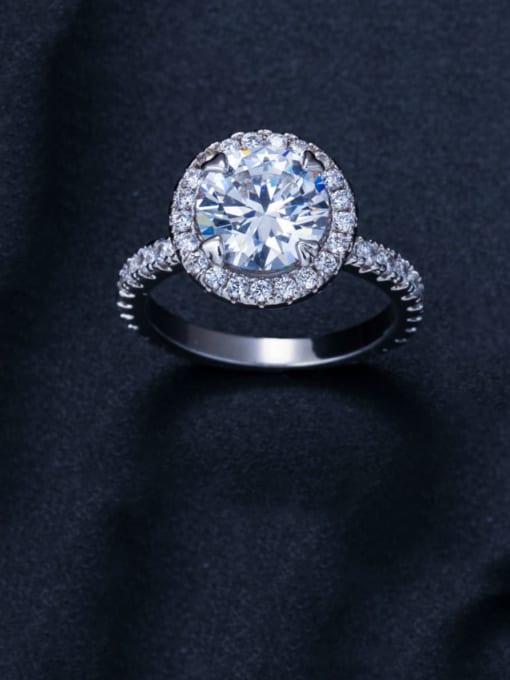 Platinum  US 8 Brass Cubic Zirconia Round Luxury Band Ring