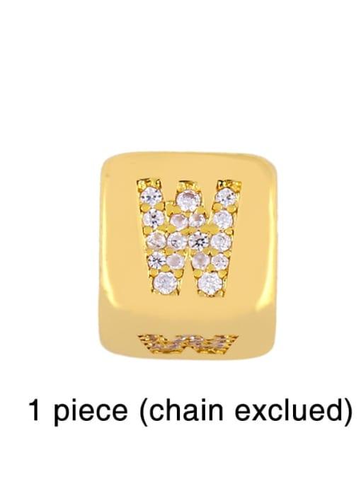 W Brass Cubic Zirconia square Letter Minimalist Adjustable Bracelet
