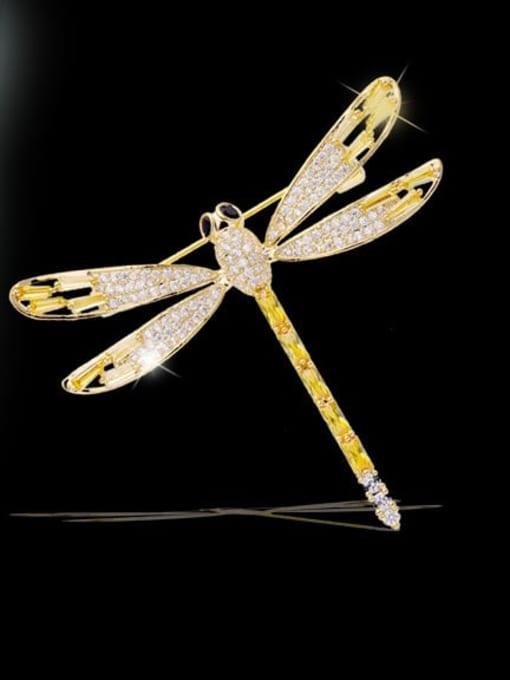 Luxu Brass Cubic Zirconia Dragonfly Minimalist Brooch 0