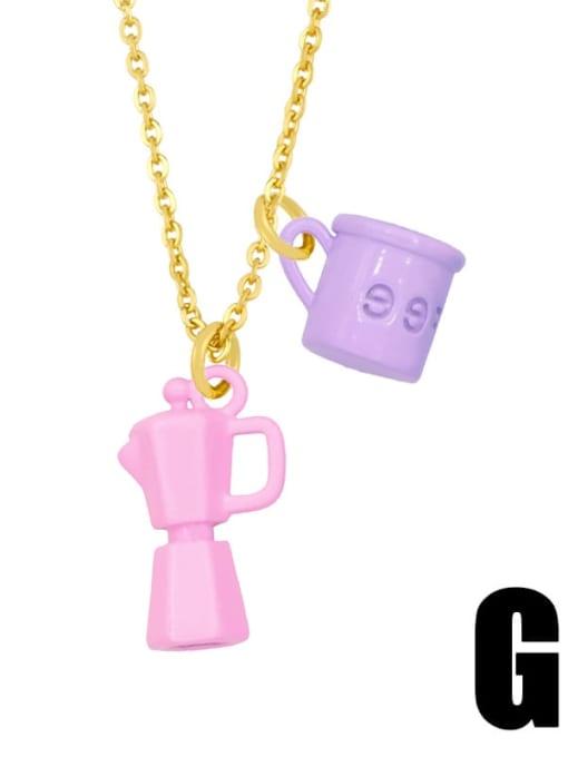 G (purple pink) Brass Enamel Irregular Vintage Necklace